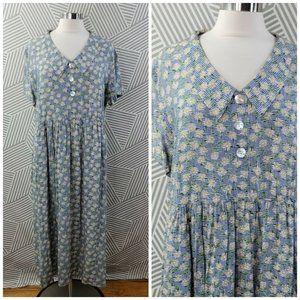 Vintage Floral Crinkle Maxi Dress size Large long